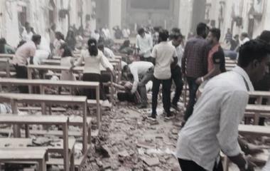 Bildet viser ødeleggelsene i St Sebastian's kirken i Negombo og ble publisert på deres facebookside