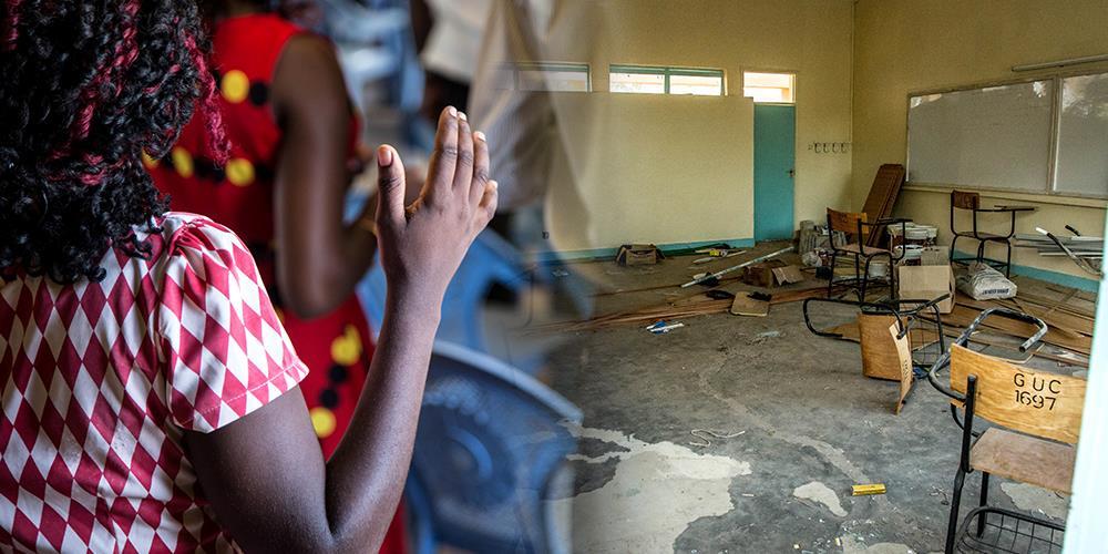 Til venstre: Kvinne som tilber under en gudstjeneste i Garrisa. Høyre: Rommet hvor studentene holdt bønnemøte da angrepet skjedde.