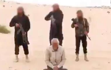 Skjermdump fra videoen som IS-gruppen Wilayat Sinai publiserte søndag.