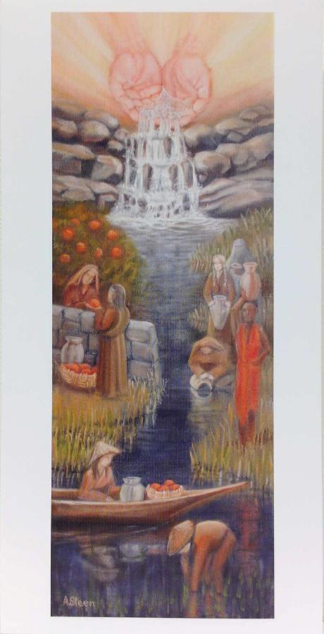 Seks postkort med malt motiv