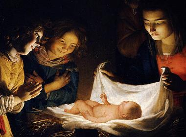 "Målning ""Adoration of the child"