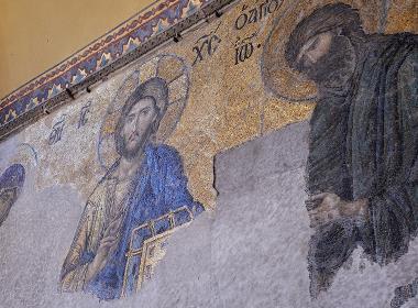 En målning i Hagia Sofia, ursprungligen en kyrkobyggand som senare blev museum och förra året gjordes om till en moské.