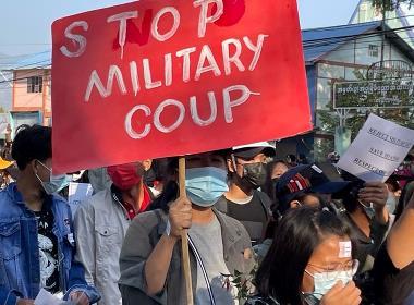 Protester i Myanmar (Foto: Open Doors partner).