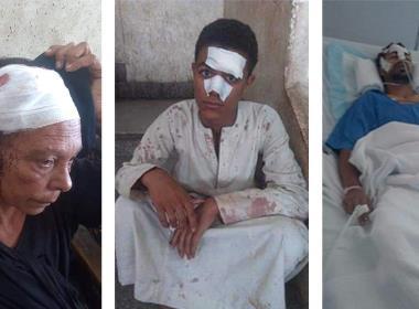 Houda Hanna och hennes båda söner Ishaq och Shenouda skadades i knivattacken.