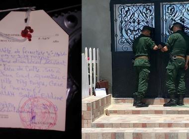 Vänster bild: Plakat som sattes upp av myndigheterna när Full Gospel Church stängdes. Höger bild: Polis stänger en kyrka i Boudjima i maj 2019.