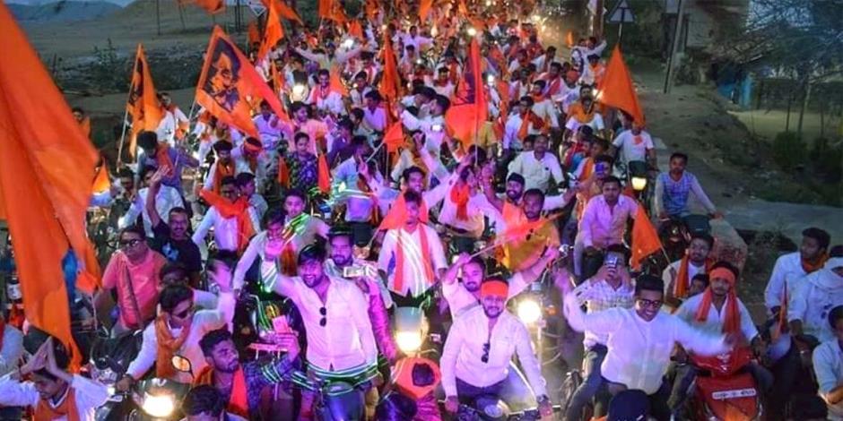 Anhängare till det segrande partiet BJP, några dagar efter att valet hade startat.