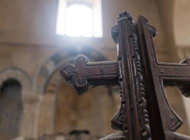 Bild från en grekisk-ortodox kyrka i Aleppo, som till stor del har förstörts under kriget. En tredjedel av Syriens kristna befolkning beräknas ha lämnat landet sedan kriget startade 2011.