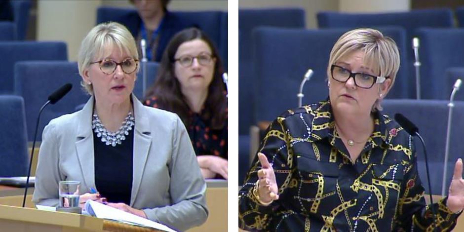 Utrikesminister Margot Wallström (S) och Désirée Pethrus (KD), riksdagsledamot, diskuterade religionsfrihet och förföljelsen av kristna. (Bilden är ett montage, foto: skärmdump från riksdagen)