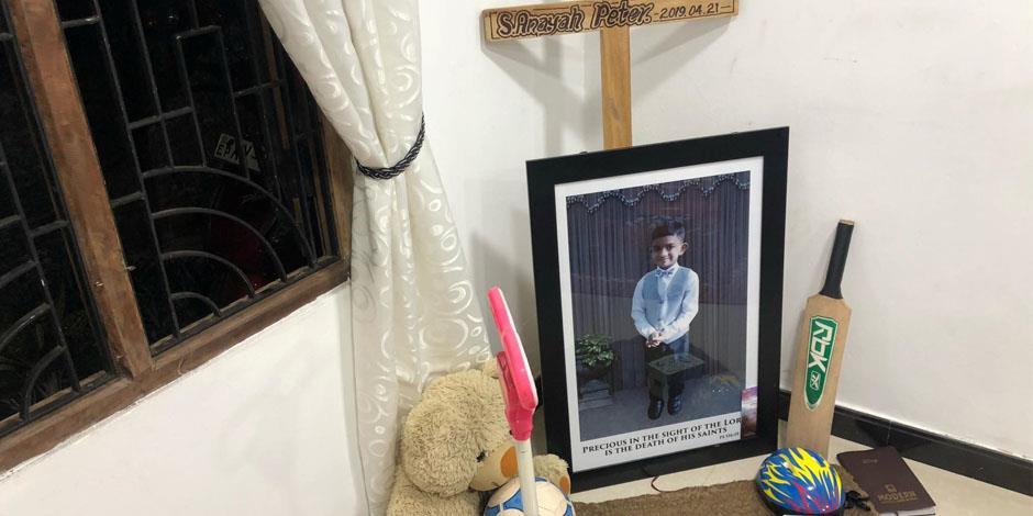 Sexårige Peter är en av dem som dog under påskdagens attacker på Sri Lanka.