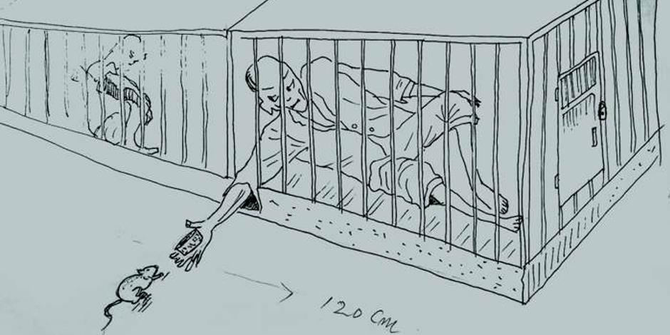 En nordkoreansk fånge låtsas sova för att lura till sig en råtta, som han sedan ska äta rå. Teckning ritad av en tidigare fånge i ett nordkoreanskt fångläger.