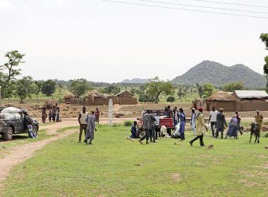 En grupp fulaniherdar med boskap i nordöstra Nigeria.